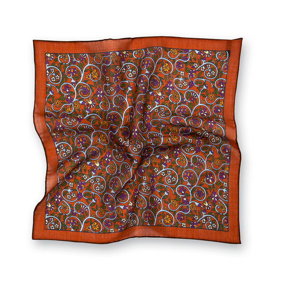 Rust Vines Print Wool/Silk Pocket Square