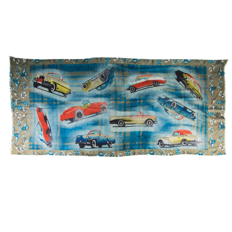 Vintage Car Print Cashmere/Silk Scarf - Exquisite Trimmings