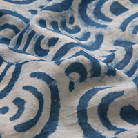 Blue Waves Print Natural Dyed Hand Block Neckerchief