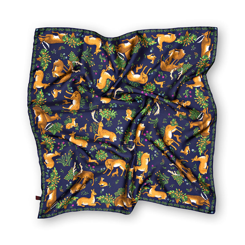 Navy Wildlife Print Hand Rolled Silk Square Scarf 65cm