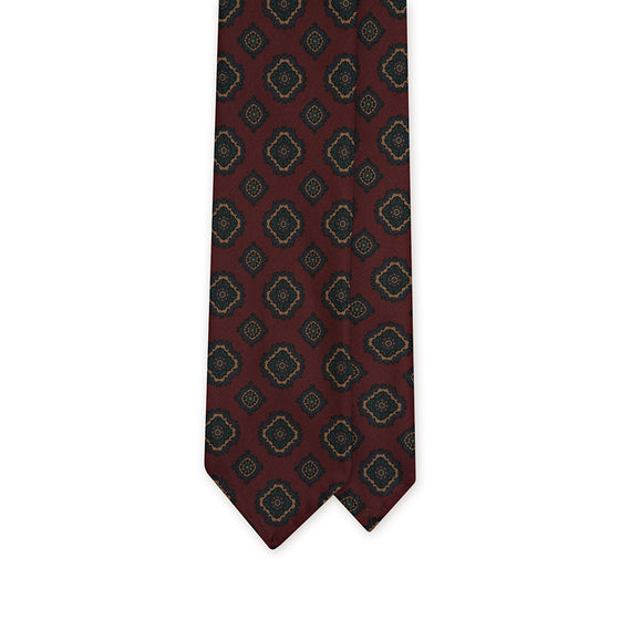 Wine Medallion Printed Italian Madder Silk Tie
