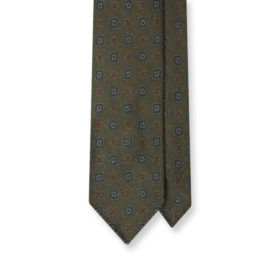 Green Tile Print Wool Challis Handrolled Tie