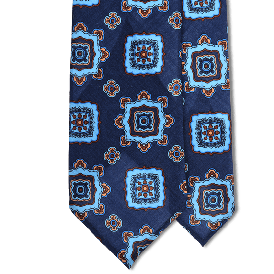 Navy/Blue Medallion Print Lightweight Wool Hand Rolled Tie (8cm & 9cm) - Exquisite Trimmings