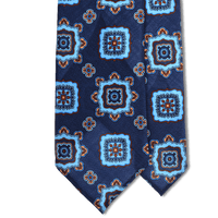 Bespoke Navy/Blue Medallion Printed Wool Tie - Exquisite Trimmings