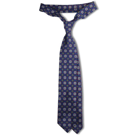 Navy Tile Print Lightweight Wool Hand Rolled Tie (8cm & 9cm) - Exquisite Trimmings