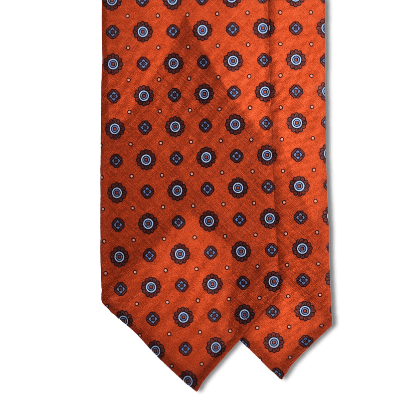Orange Neat Print Lightweight Wool Hand Rolled Tie (8cm & 9cm) - Exquisite Trimmings