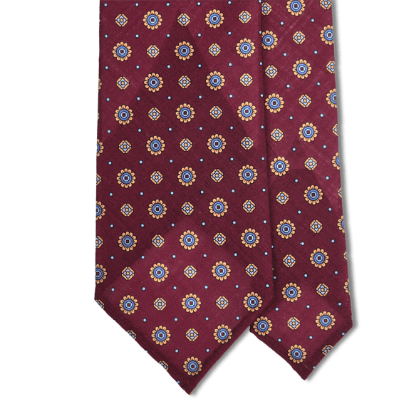 Bespoke Wine Neat Printed Wool Tie - Exquisite Trimmings