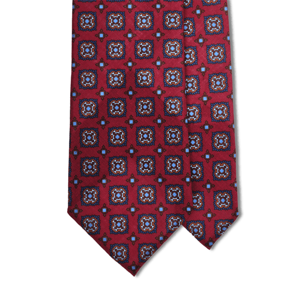 Wine Tile Print Lightweight Wool Hand Rolled Tie (8cm & 9cm) - Exquisite Trimmings