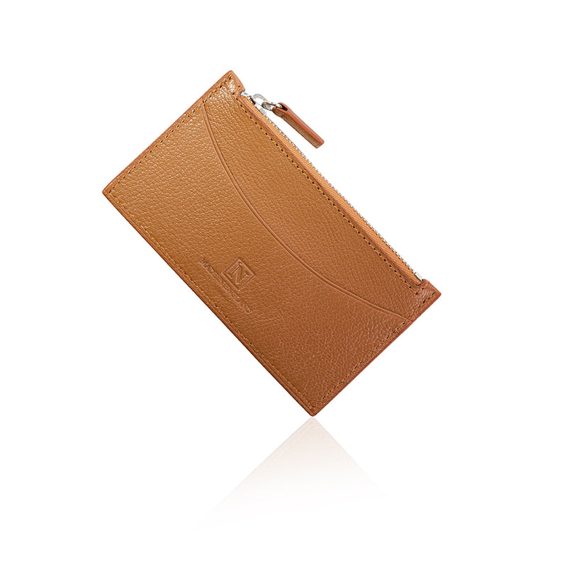 Brown Goat Leather Zip Wallet