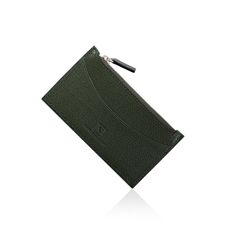 Green Goat Leather Zip Wallet