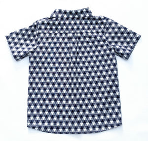 Boy's Blue and White Check Button-up Shirt
