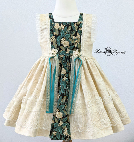 OOAK Champagne Christmas Dress, Size 2
