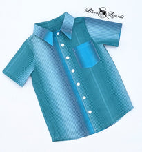Load image into Gallery viewer, Boy's Dress Shirt Blue Ombre Stripe