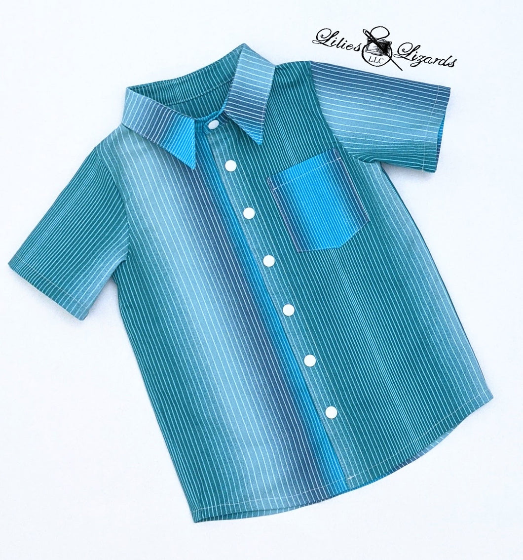 Boy's Dress Shirt Blue Ombre Stripe