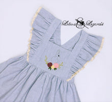 Load image into Gallery viewer, Hand-Embroidered Easter Pinafore Dress, Size 5