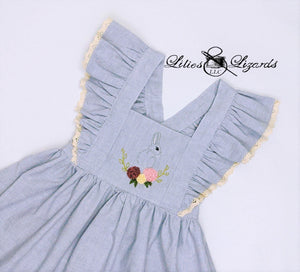 Hand-Embroidered Easter Pinafore Dress, Size 5