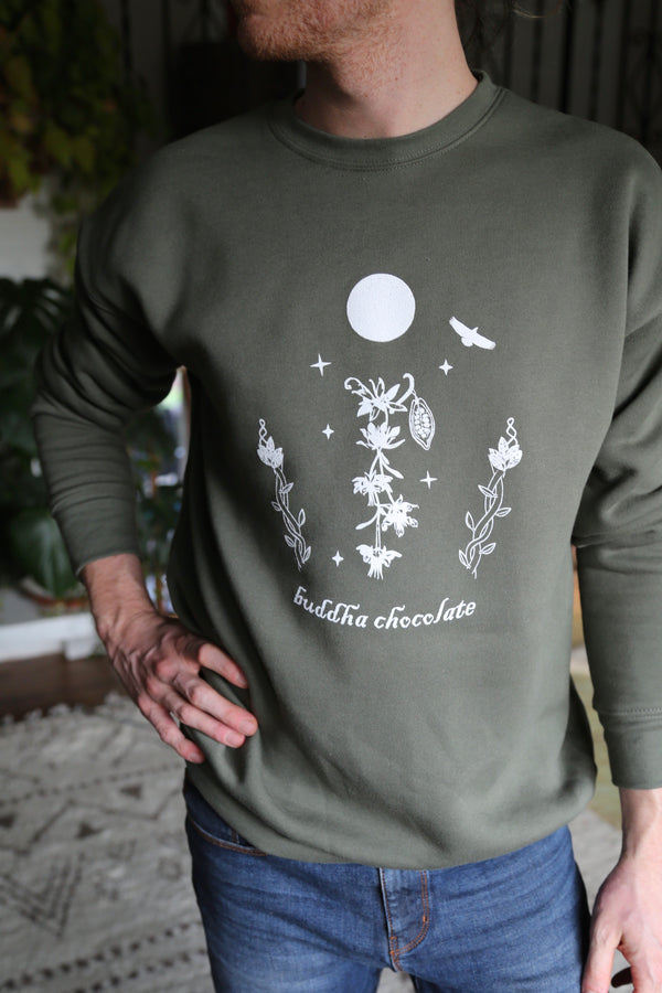 Buddha Chocolate Crewneck - Moss