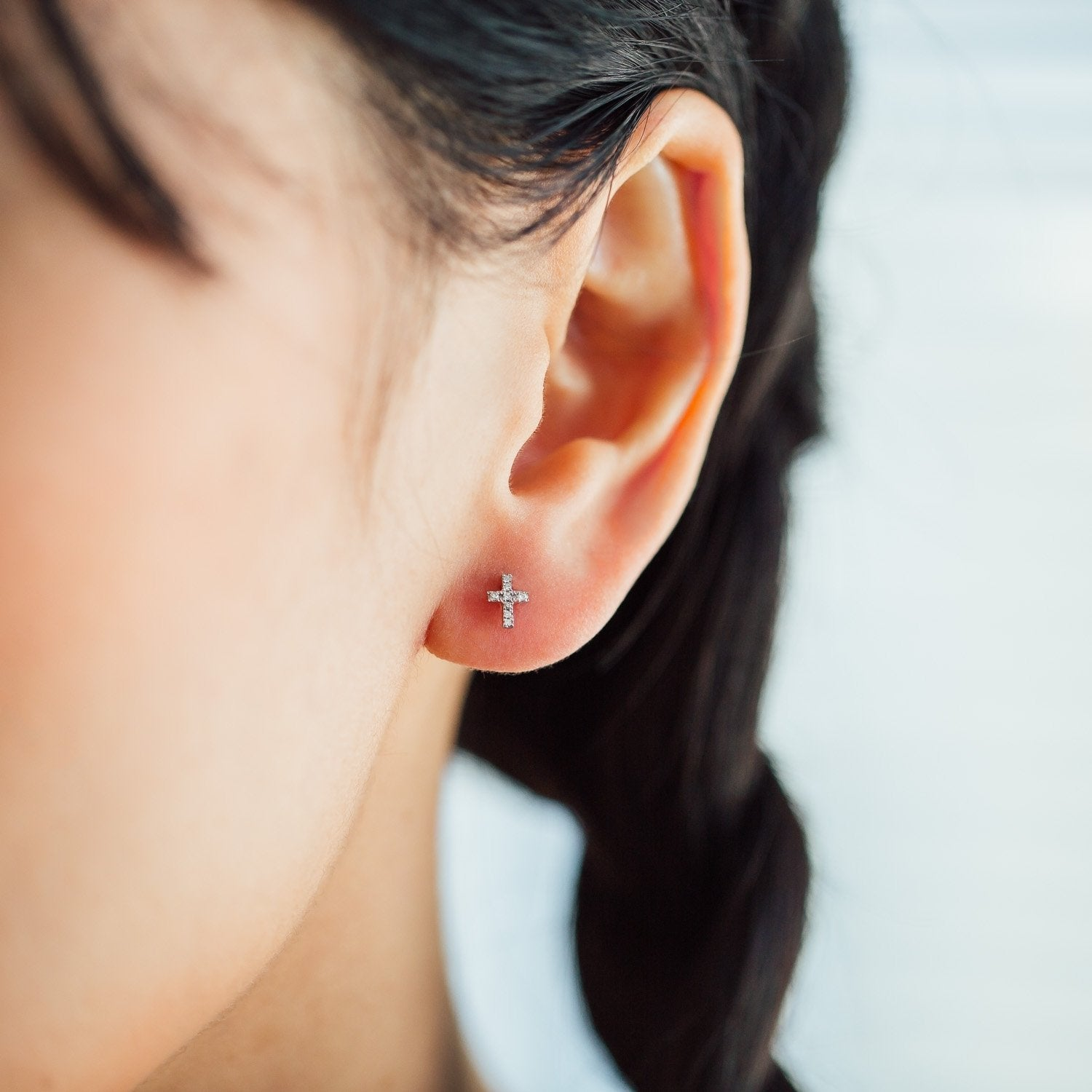 Ear Studs DIAMOND CROSS