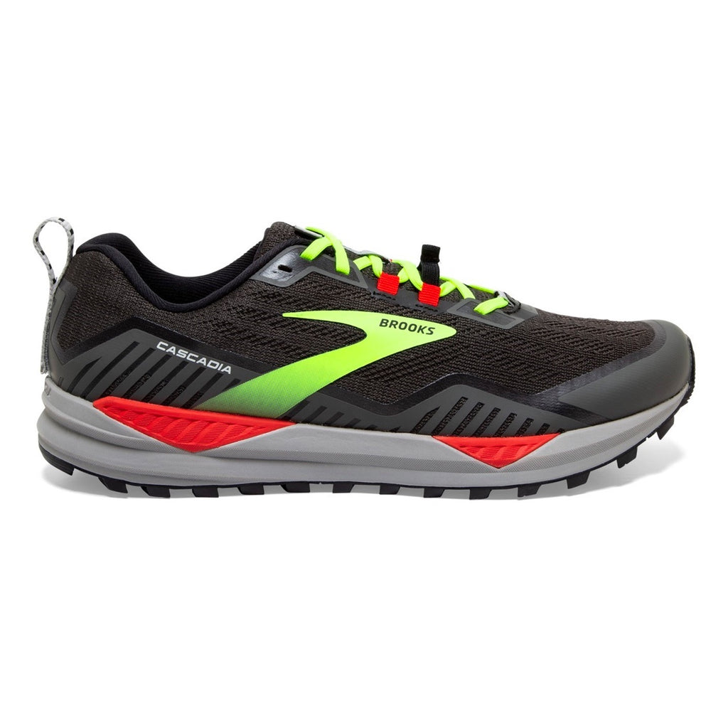 Mens Brooks Cascadia 15 - Black / Raven / Cherry Tomato