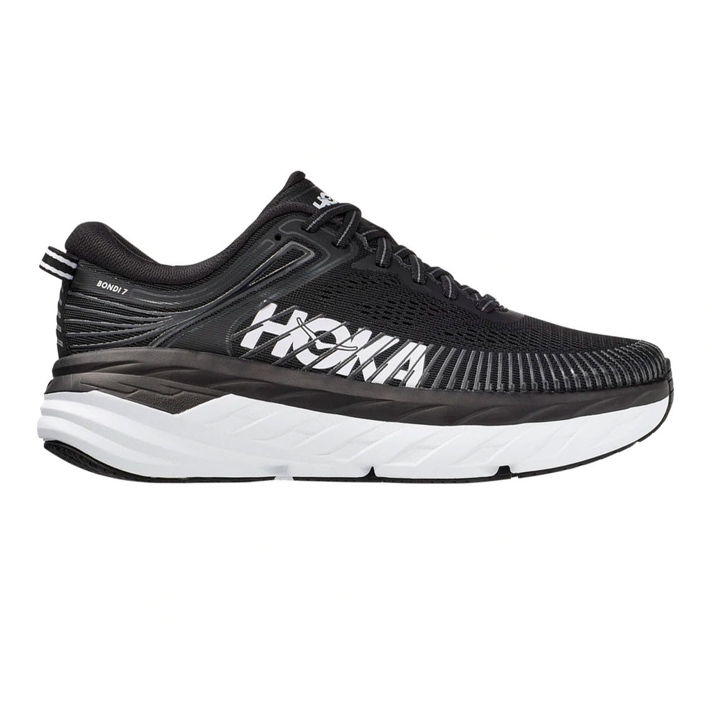 Womens Hoka Bondi 7 (Wide) - Black / White