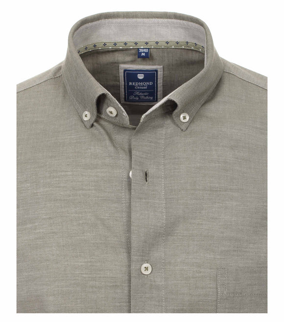 Redmond Hemd, regular fit, 100% Baumwolle, garment washed, schilfgrün