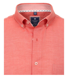 Redmond Hemd, regular fit, 100% Baumwolle, garment washed, rot (halbarm)