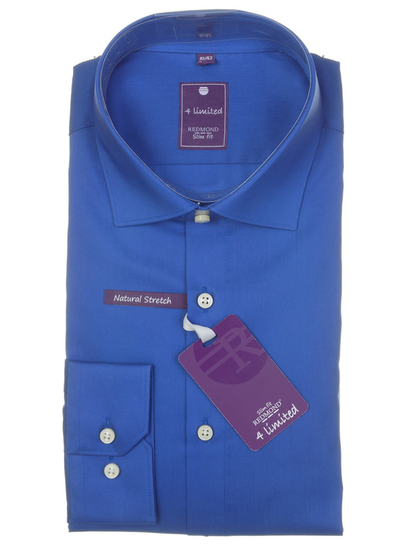 Redmond Businesshemd, slim fit, 100% Baumwolle, natural stretch, azurblau