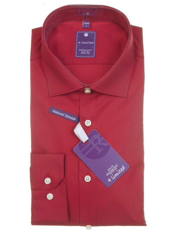 Redmond Businesshemd, slim fit, 100% Baumwolle, natural stretch, rot
