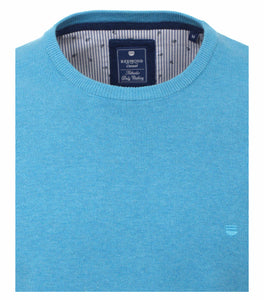 Redmond Pullover, regular fit, round neck, 100% Baumwolle, hellblau