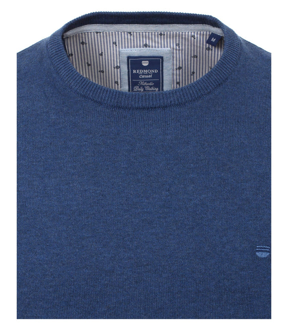 Redmond Pullover, regular fit, round neck, 100% Baumwolle, blau