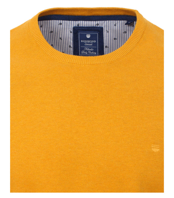 Redmond Pullover, regular fit, round neck, 100% Baumwolle, gelb