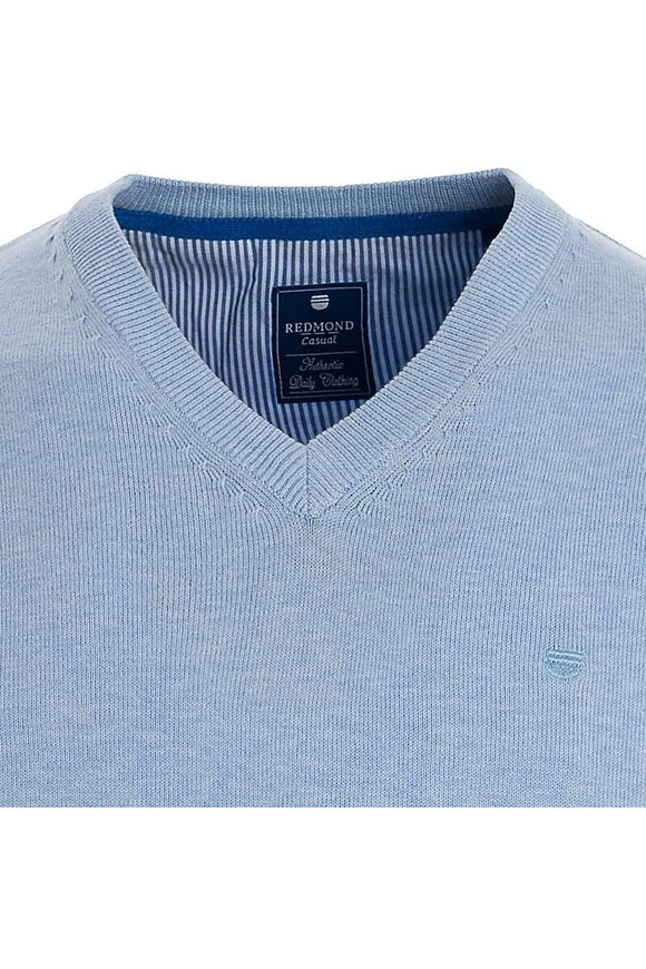 Redmond Pullover, regular fit, V-neck, 100% Baumwolle, hellblau