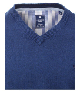 Redmond Pullover, regular fit, V-neck, 100% Baumwolle, jeansblau
