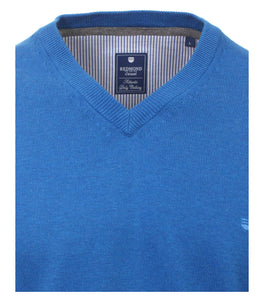 Redmond Pullover, regular fit, V-neck, 100% Baumwolle, azurblau