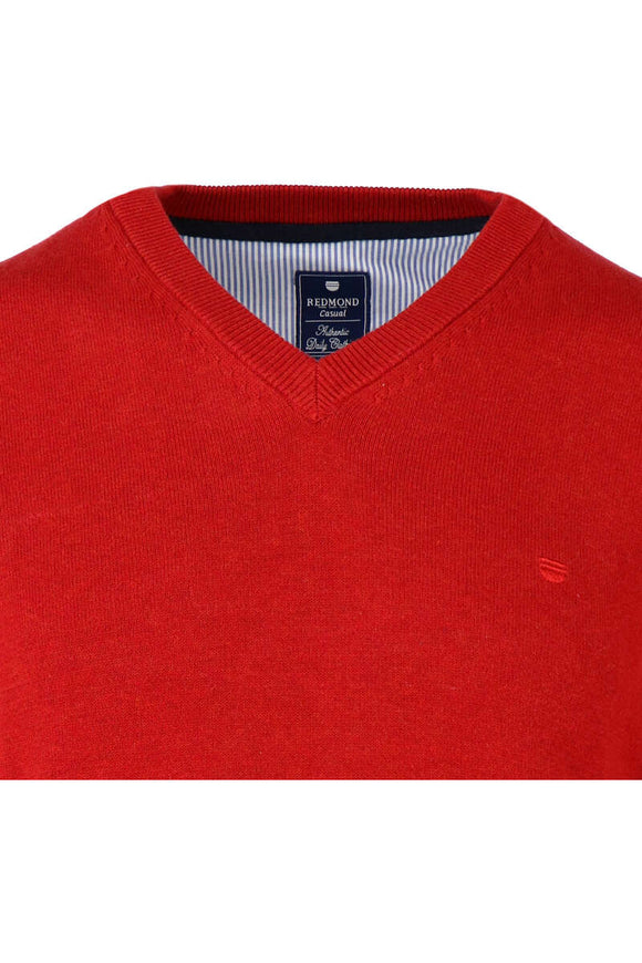 Redmond Pullover, regular fit, V-neck, 100% Baumwolle, rot