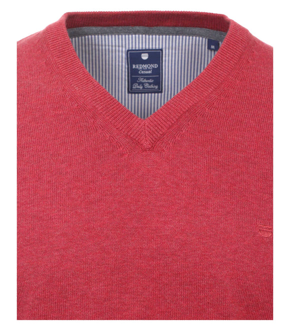 Redmond Pullover, regular fit, V-neck, 100% Baumwolle, fuchsia