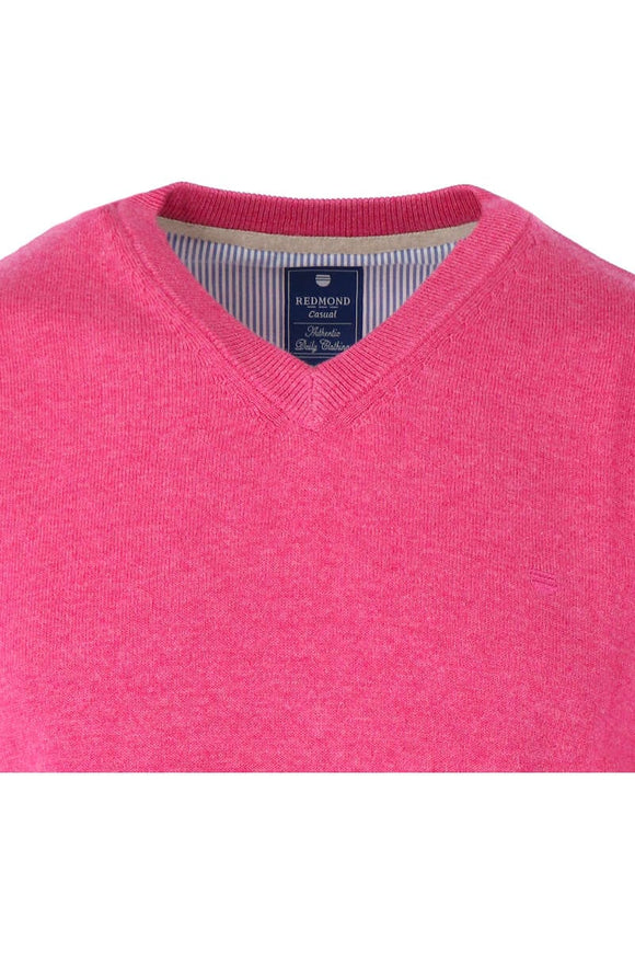 Redmond Pullover, regular fit, V-neck, 100% Baumwolle, rosa