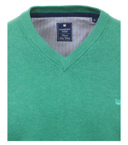 Redmond Pullover, regular fit, V-neck, 100% Baumwolle, mint