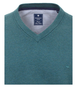 Redmond Pullover, regular fit, V-neck, 100% Baumwolle, petrol