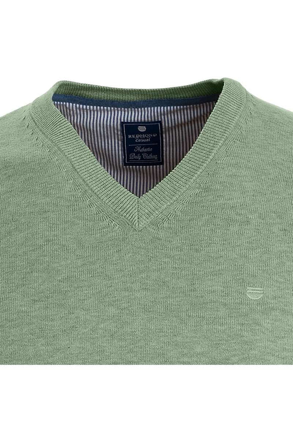 Redmond Pullover, regular fit, V-neck, 100% Baumwolle, hellgrün