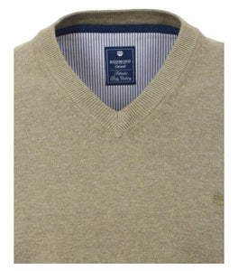 Redmond Pullover, regular fit, V-neck, 100% Baumwolle, schilfgrün
