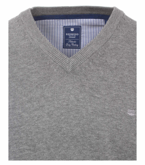 Redmond Pullover, regular fit, V-neck, 100% Baumwolle, hellgrau