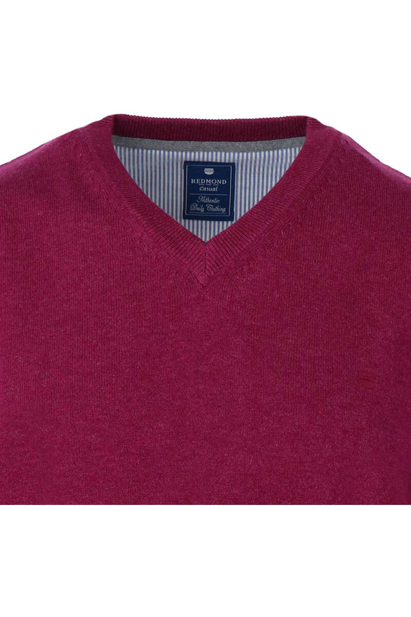 Redmond Pullover, regular fit, V-neck, 100% Baumwolle, beere