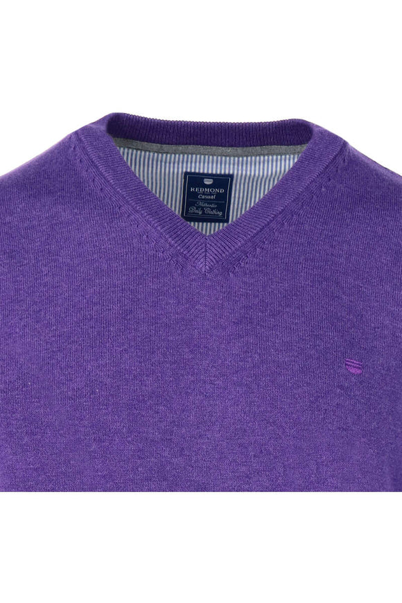 Redmond Pullover, regular fit, V-neck, 100% Baumwolle, lila