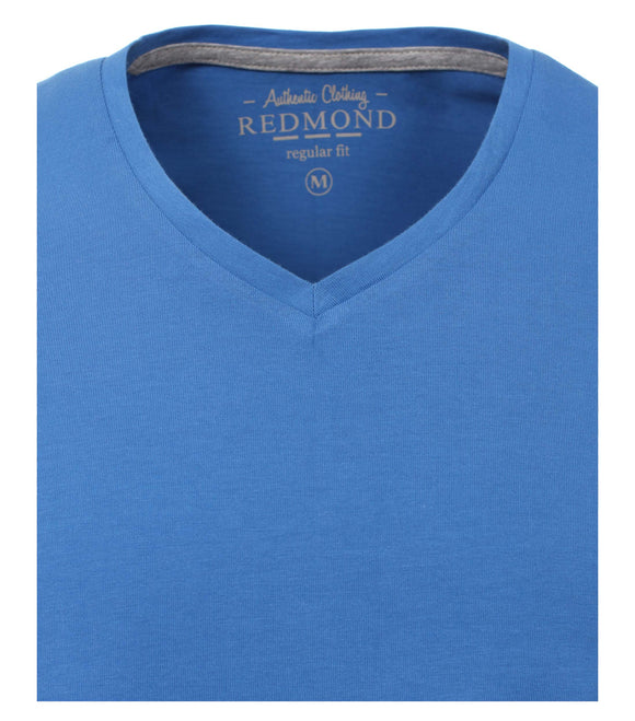 Redmond T-Shirt, regular fit, V-neck, 100% Baumwolle, azurblau