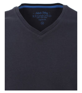 Redmond T-Shirt, regular fit, V-neck, 100% Baumwolle, marineblau