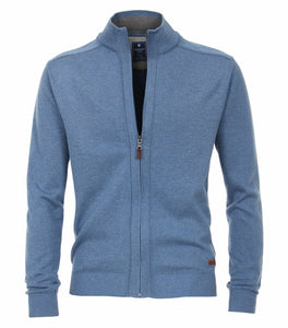 Redmond Cardigan mit Zipper, regular fit, 100% Baumwolle, hellblau