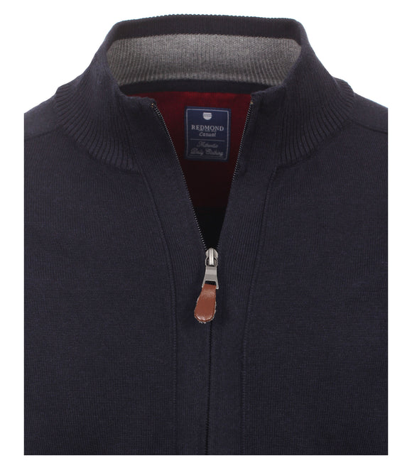 Redmond Cardigan mit Zipper, regular fit, 100% Baumwolle, marineblau