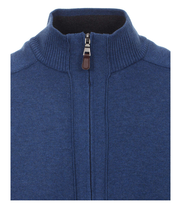 Redmond Cardigan mit Zipper, regular fit, 100% Baumwolle, jeansblau