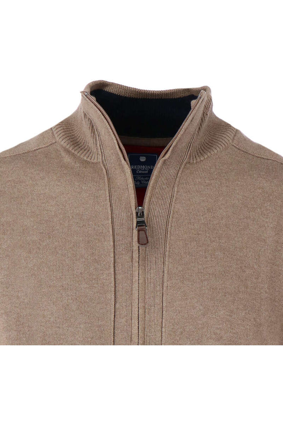 Redmond Cardigan mit Zipper, regular fit, 100% Baumwolle, taupe